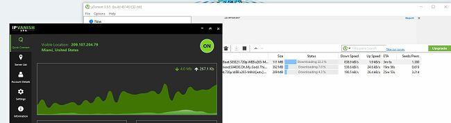 Screenshot of IPVanish VPN with uTorrent
