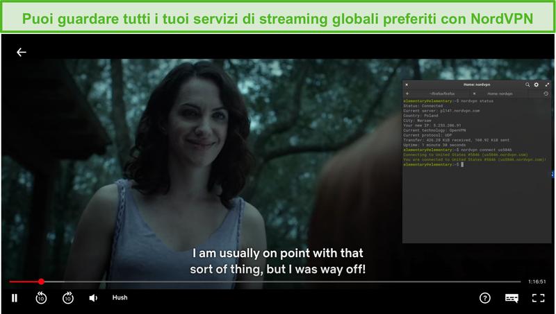 Screenshot di NordVPN su Linux che sblocca Netflix US mentre è connesso a un server statunitense.