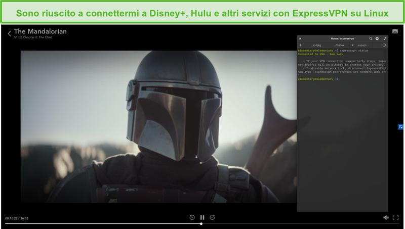 Screenshot di ExpressVPN su Linux che sblocca The Mandalorian da Disney + US.