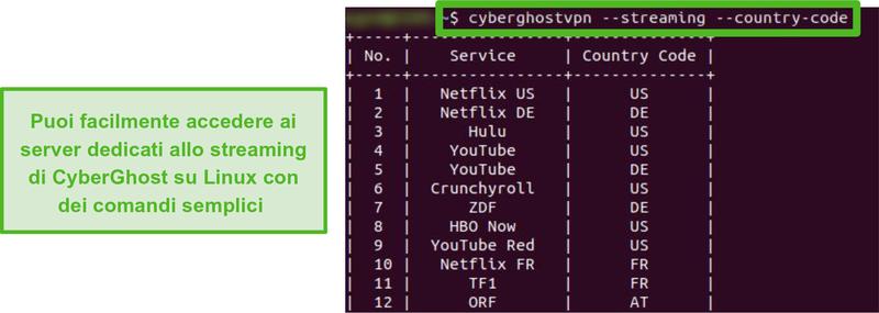Screenshot dei server di streaming dedicati di CyberGhost su Linux.