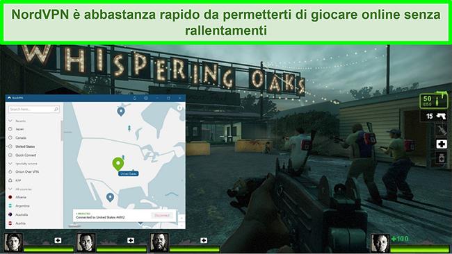 Screenshot di NordVPN connesso a un server statunitense durante la riproduzione del gioco Left 4 Dead 2