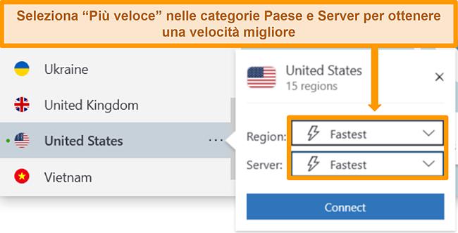 Screenshot delle opzioni server di NordVPN per gli Stati Uniti che mostra la regione e il server più veloci