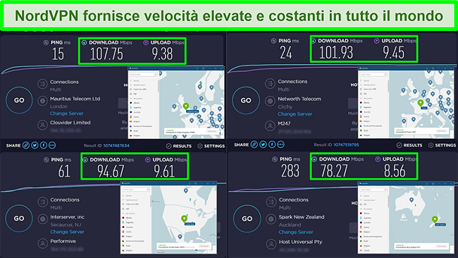 Screenshot di test di velocità con NordVPN connesso a diversi server globali