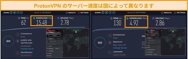 速度テスト結果を含む、オランダと米国に接続されたProtonVPNのスクリーンショット