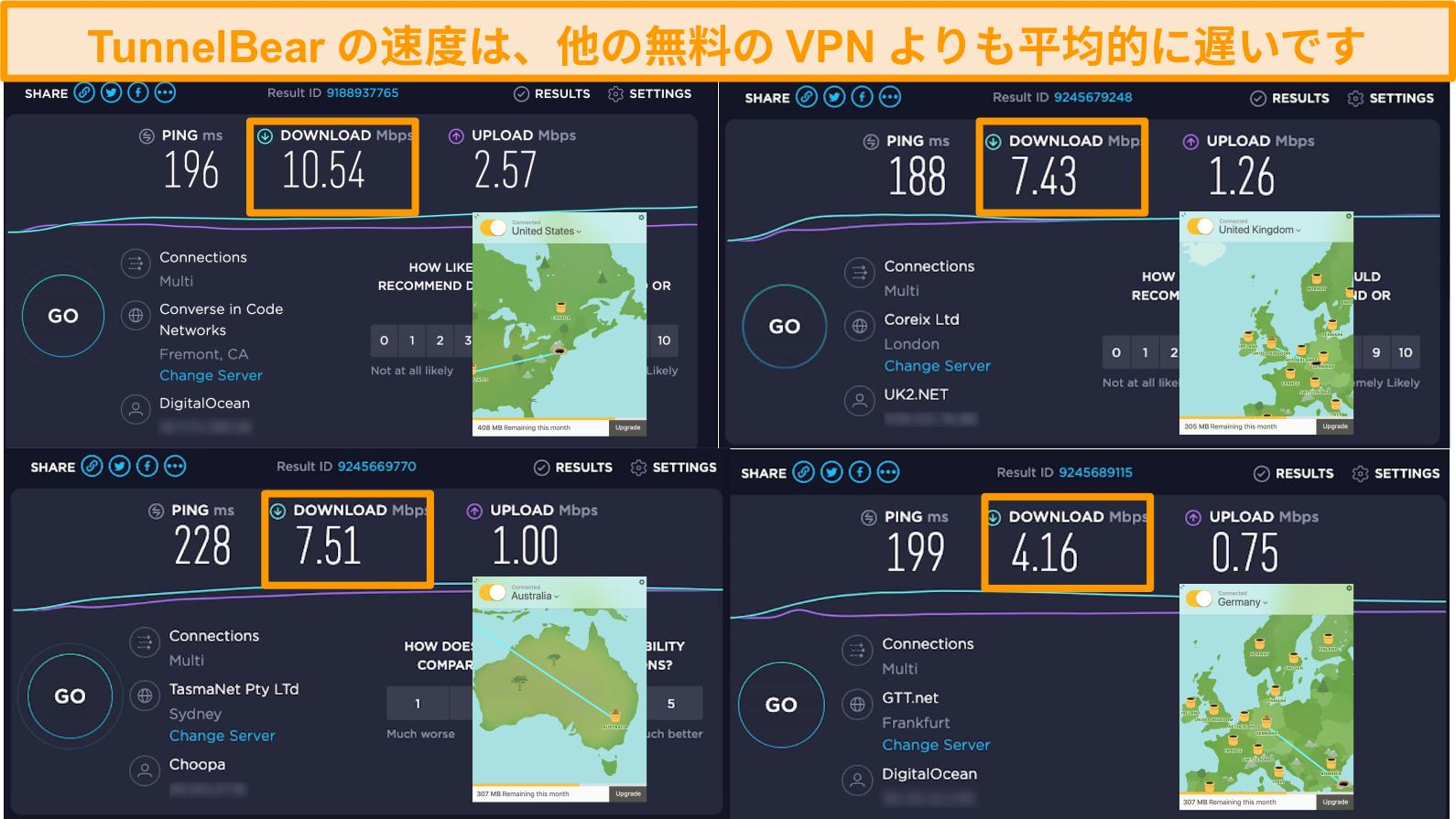 ドイツ、イギリス、アメリカ、オーストラリアのTunnelBearのサーバーのスクリーンショットと速度テスト結果