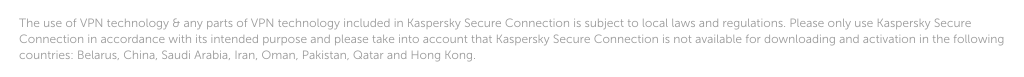 Kaspersky Secure Connection small print