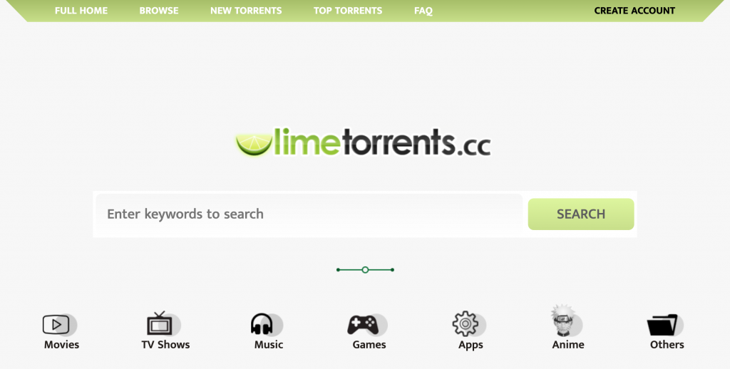 LimeTorrents homepage
