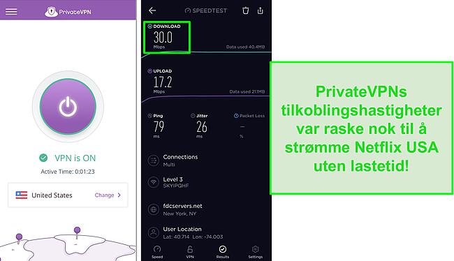 Skjermbilde av PrivateVPN koblet til amerikansk server og Ookla hastighetstest
