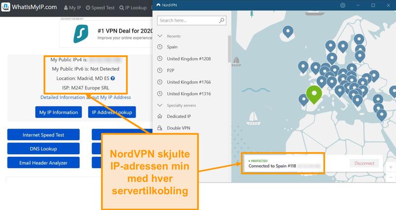 Skjermbilde av IP-adressetest som viser at NordVPN maskerer IP-adresser