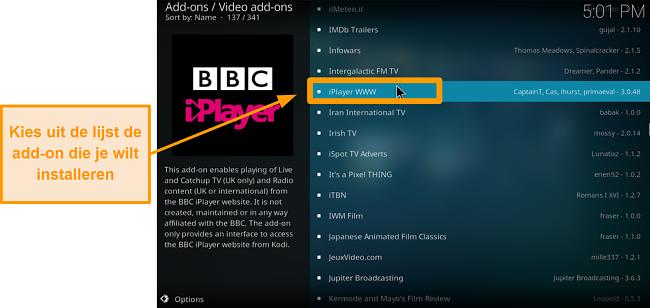 screenshot van hoe je de officiële Kodi-add-on stap zeven installeert, vind je gewenste add-on