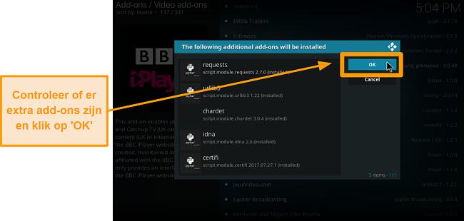 screenshot van hoe je de officiële Kodi-add-on stap negen installeert, controleer extra add-ons en klik vervolgens op ok