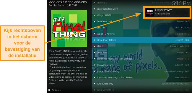 screenshot van het installeren van de officiële Kodi-add-on stap tien melding zal verschijnen