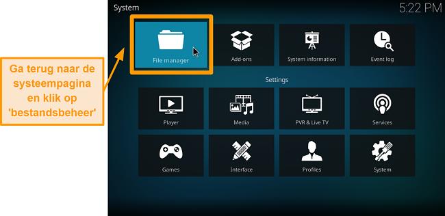 screenshot hoe je de kodi add-on van een derde partij installeert: klik op bestandsbeheer