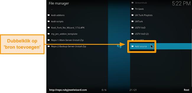 screenshot hoe je een kodi add-on van een derde partij installeert: klik op bron toevoegen