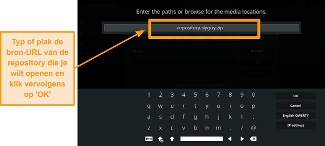 screenshot hoe je de kodi add-on van een derde partij installeert in stap 8 typ source url