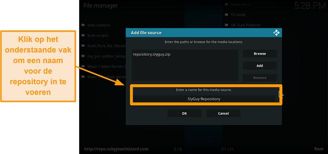 screenshot hoe je de kodi addon van een derde partij installeert stap 9 typ de naam van de repo