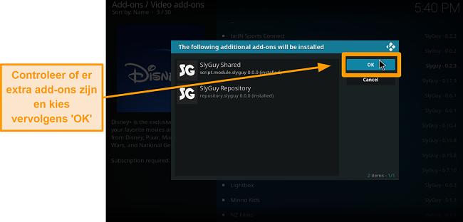 screenshot hoe je de kodi add-on van een derde partij installeert stap 18, extra add-ons checken en klik op ok
