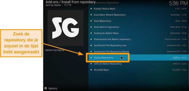 screenshot hoe je de kodi add-on van een derde partij installeert stap 19 zoek de repo die je zojuist hebt geïnstalleerd