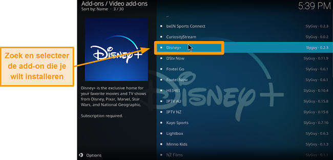 screenshot hoe je de kodi add-on van een derde partij installeert stap 21 vind je gewenste add-on