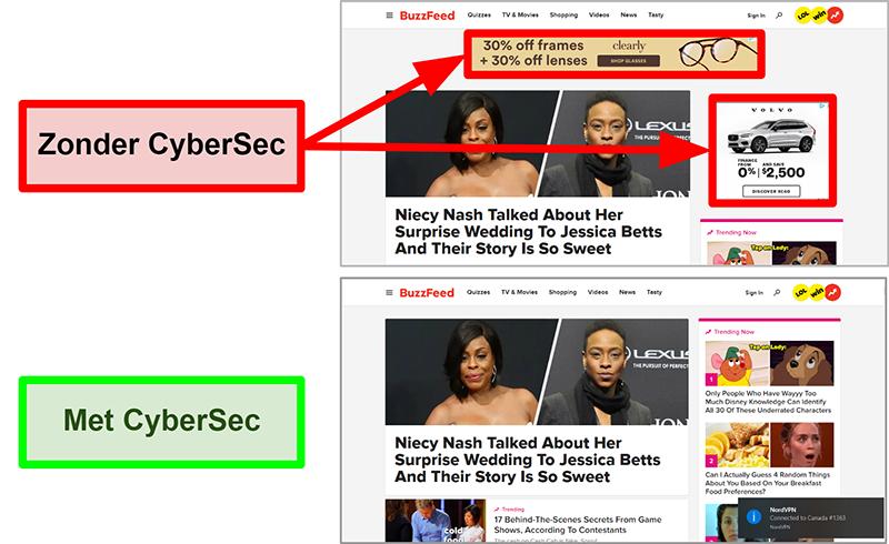 Screenshot van de BuzzFeed-startpagina met NordVPN's CyberSec-functie in- en uitgeschakeld