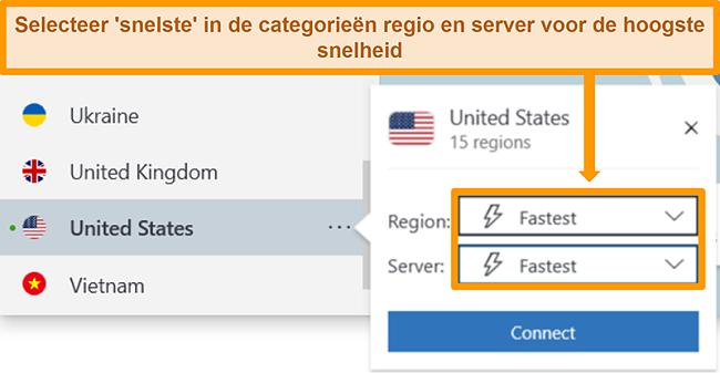 Screenshot van de serveropties van NordVPN voor de VS met de snelste regio en server