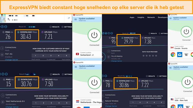 Schermafbeelding van snelheidsvergelijking tussen verschillende ExpressVPN-servers