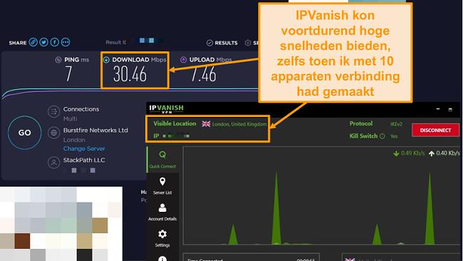 Schermafbeelding van een snelheidstest met IPVanish-verbinding