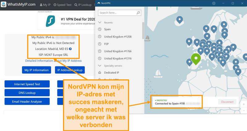 Schermafbeelding van IP-adrestest waaruit blijkt dat NordVPN met succes IP-adressen maskeert