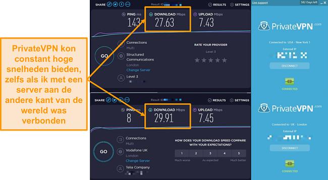 Schermafbeelding van de snelheidsvergelijking van PrivateVPN