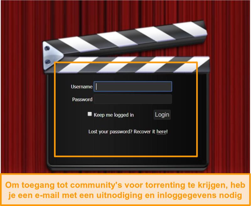 Schermafbeelding van de aanmeldingspagina van PassThePopcorn