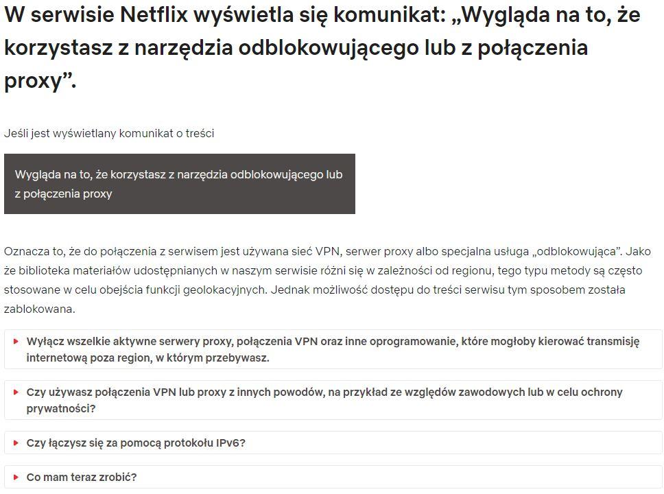 Komunikat o błędzie od Netflix - Centrum pomocy Netflix