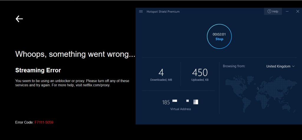 Netflix UK Hotspot shield proxy error
