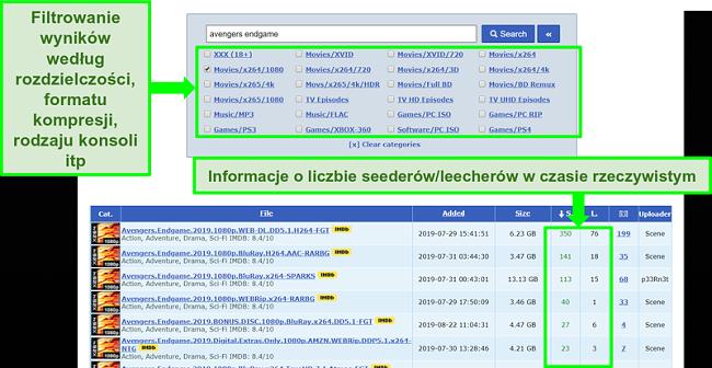 Zrzut ekranu strony wyszukiwania RARBG