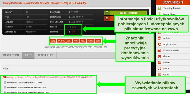 Zrzut ekranu strony pobierania 1337xTorrents