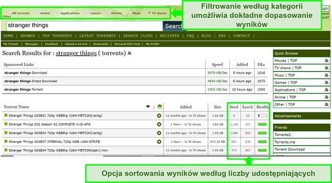 Zrzut ekranu strony wyszukiwania Limetorrents