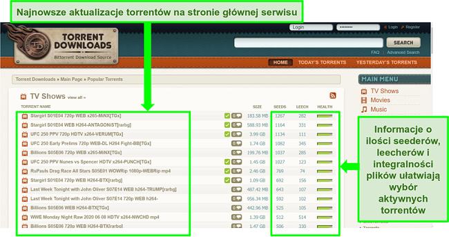 Zrzut ekranu strony docelowej TorrentDownloads