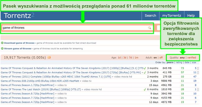 Zrzut ekranu strony wyszukiwania Torrentz2