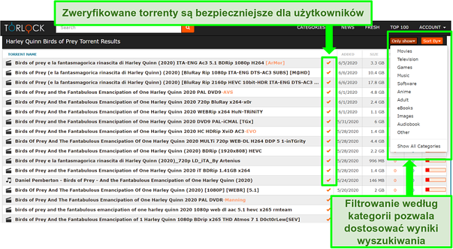 Zrzut ekranu fałszywych linków w TorLock