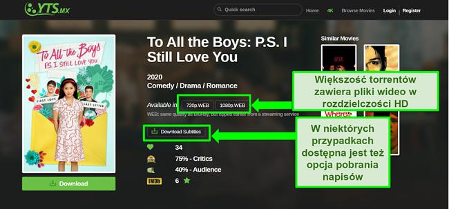 Zrzut ekranu strony docelowej YTS
