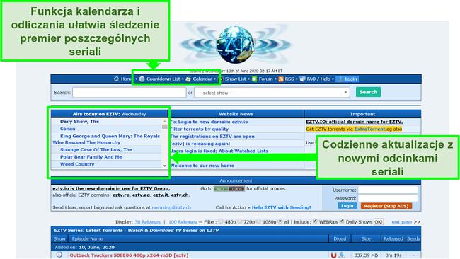 Zrzut ekranu strony docelowej EZTV