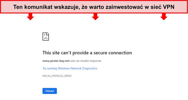 Zrzut ekranu z komunikatem o błędzie podczas próby uzyskania dostępu do Pirate Bay bez VPN