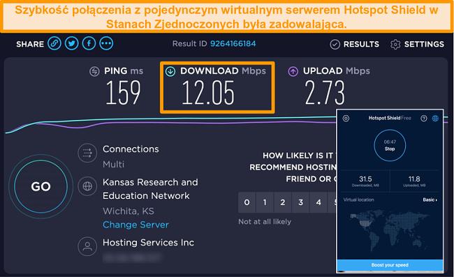 Zrzut ekranu bezpłatnej wersji Hotspot Shield na Macu podłączonej do serwera w USA z wynikami testu prędkości