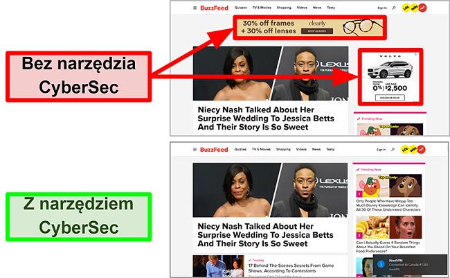 Zrzut ekranu strony głównej BuzzFeed z włączoną i wyłączoną funkcją CyberSec firmy NordVPN