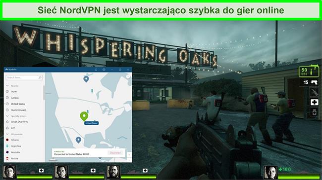 Zrzut ekranu przedstawiający połączenie NordVPN z serwerem w USA podczas gry Left 4 Dead 2