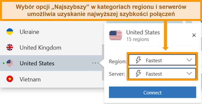 Zrzut ekranu przedstawiający opcje serwera NordVPN w USA, pokazujący najszybszy region i serwer