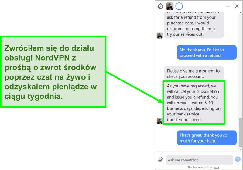 Zrzut ekranu przedstawiający klienta żądającego zwrotu pieniędzy z 30-dniową gwarancją zwrotu pieniędzy NordVPN na czacie na żywo