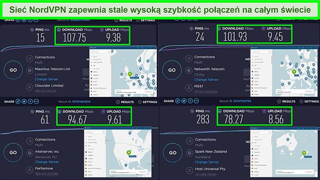 Zrzuty ekranu testów prędkości z NordVPN połączonym z różnymi globalnymi serwerami