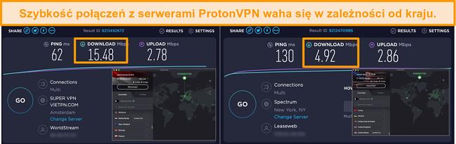 Zrzut ekranu z ProtonVPN połączonego z Holandią i USA z wynikami testu prędkości