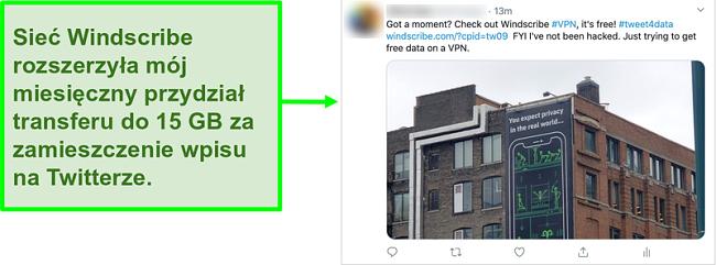 Zrzut ekranu postu na Twitterze promującego Windscribe VPN w zamian za 15 GB darmowych danych co miesiąc