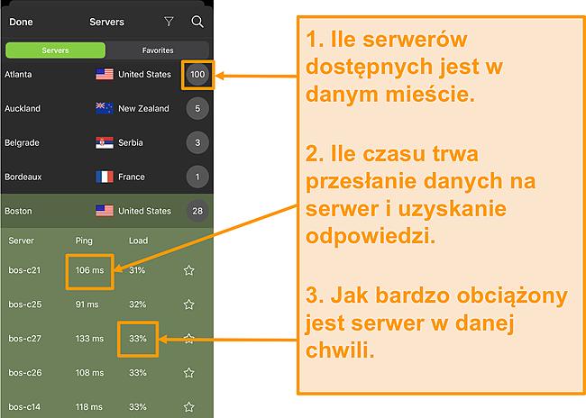 Zrzut ekranu listy serwerów IPVanish z podświetlonymi numerami serwerów, pingiem i obciążeniem serwera